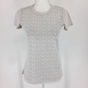 J. Crew Eyelet Overlay Tee in Wheat